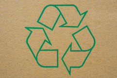 Recycle. Logo green recycle on old folding carton Stock Illustration