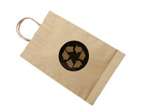 Recycle logo on paper bag on white background (clipping path) Royalty Free Stock Photography