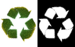Recycle logo symbol from the green grass, isolated on white with Royalty Free Stock Images