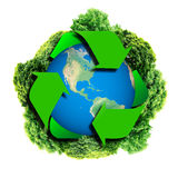 Recycle logo with tree and earth. Eco globe with recycle signs.Ecology planet with with trees around. eco earth. Ecology planet with with trees around. eco earth Royalty Free Stock Image