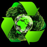 Recycle logo with tree and earth. Eco globe with recycle signs. Ecology planet with with trees around. eco earth. Eco globe. Eco planet Royalty Free Stock Photography