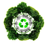 Recycle logo with tree and earth. Eco globe with recycle signs. (Elements of this 3d rendered image furnished by NASA Stock Image