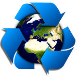 Recycle logo with tree and earth. Eco globe with recycle signs. Royalty Free Stock Photography