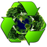 Recycle logo with tree and earth. Eco globe with recycle signs. Royalty Free Stock Image