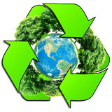 Recycle logo with tree and earth. Eco globe with recycle signs. World globe or earth with recycle signs. Eco globe with recycle signs. Eco planet Stock Images