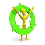 Recycle Man. A Colourful 3d Rendered Recycle Concept Illustration Stock Photography