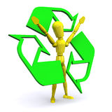 Recycle Man. A Colourful 3d Rendered Recycle Concept Illustration Royalty Free Stock Photography