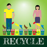 Recycle. Man and woman separate trash to recycle bins illustration Stock Images