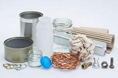 Recycle material. Group of various material that can bring to recycle Royalty Free Stock Images
