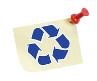 Recycle message. Thumb tack note with recycle symbol on it Royalty Free Stock Image