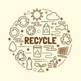 Recycle minimal thin line icons set Stock Photo