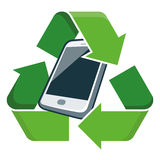 Recycle mobile phone. Electronic device phone with recycling symbol. Isolated vector illustration. Waste Electrical and Electronic Equipment - WEEE concept Royalty Free Stock Photography