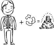 Recycle for money. Illustration of business man recycle and get money Stock Photography