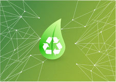 Recycle nature green leave illustration. Over a green abstract background Stock Images