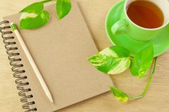 Recycle notebook and wooden pencil Royalty Free Stock Photos