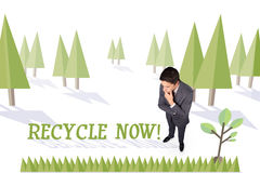 Recycle now against forest with earth tree Stock Image