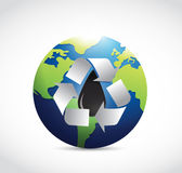 Recycle oil around the globe illustration. Design over a white background Stock Image