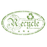 Recycle oval stamp. Abstract green grunge rubber office stamp with recycling symbol, small stars and the word recycle written with ancient letters in the middle Stock Image