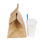 Recycle paper bag and cup of coffee or tea isolated on white bac Royalty Free Stock Photo