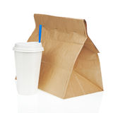 Recycle paper bag and cup of coffee or tea isolated on white bac Stock Photo