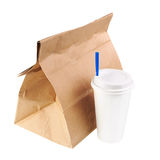 Recycle paper bag and cup of coffee or tea isolated on white bac Royalty Free Stock Image