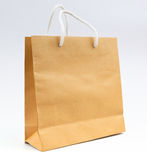 Recycle paper bag on white background use for shopping and save Stock Image