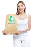Recycle Paper Bag Woman Royalty Free Stock Image
