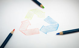 Recycle paper drawing Stock Photography