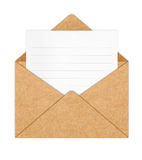 Recycle Paper envelope with Blank White Paper Stock Image