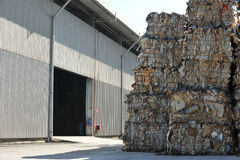 Recycle paper and factory. Paper bales ready for recycling at factory royalty free stock image