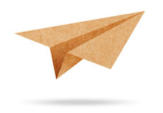 Recycle paper plane on white Stock Photos
