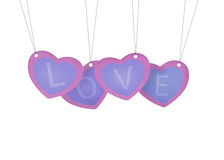 Recycle paper Valentine hanging Royalty Free Stock Photos