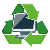 Recycle pc monitor. Electronic device pc monitor with recycling symbol. Isolated vector illustration. Waste Electrical and Electronic Equipment - WEEE concept Royalty Free Stock Images