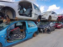 Recycle pile of  old  damaged cars. Steel irons stock photo