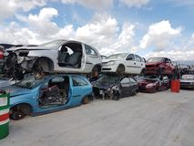 Recycle pile of  old  damaged cars. Steel irons royalty free stock image