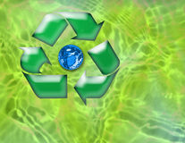 Recycle the Planet. Computer generated design. Recycle symbol circling the planet. Environmental issues Royalty Free Stock Photos