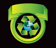 Recycle planet on green crest Royalty Free Stock Image