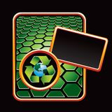 Recycle planet on green hexagon advertisement Stock Photography