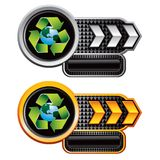 Recycle planet on silver and gold arrow banners Stock Photography