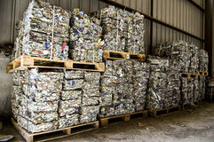 Recycle plant. Process of separation of garbage, plastics, cans, Royalty Free Stock Image