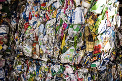 Recycle plant. Process of separation of garbage, plastics, cans, Stock Images