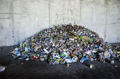 Recycle plant. Process of separation of garbage, plastics, cans, Stock Photos