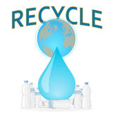 Recycle the plastic bottles to save the planet ear Royalty Free Stock Photography