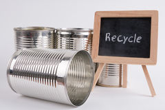 Recycle. Products and materials with text on blackboard Stock Images