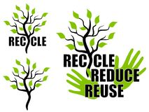 Recycle Reduce Reuse Green Tree. An illustration featuring your choice of 3 recycle graphics including the word 'recycle' with the 'y' as a tree, a single tree Stock Photography