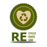 Recycle reduce reuse. An illustration of a recycling symbol and the text Recycle Reduce Reuse Stock Photos