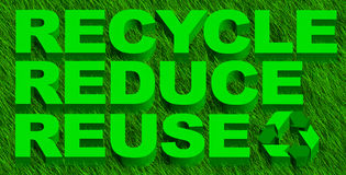 Recycle reduce reuse words over green grass. 3D illustration of recycle reduce reuse wordsover green grass royalty free illustration