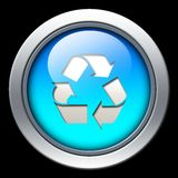 Recycle or refresh icon. Blue recycle or refresh icon on black background Stock Photo