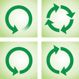 Recycle or reload page green icons Stock Images