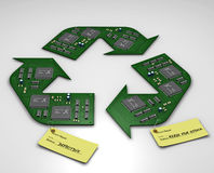 Electronic circuit boards as the Recycle symbol. 3D ( CGI ) iMAGE OF Electronic printed circuit boards with tags in the shape of the the recycle symbol. Repair royalty free illustration